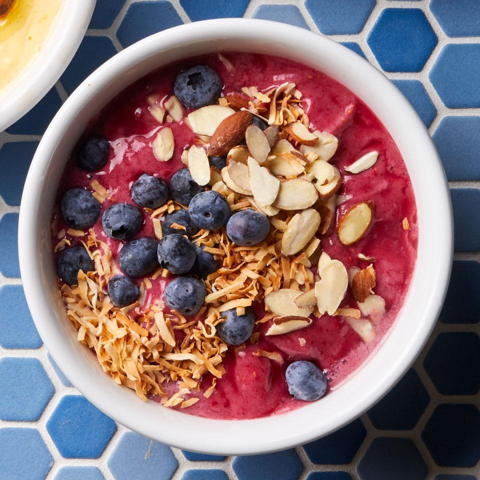 "<p>A little frozen banana gives creamy texture to this satisfying smoothie bowl. <a href=""http://www.eatingwell.com/recipe/259665/berry-almond-smoothie-bowl/"" rel=""nofollow noopener"" target=""_blank"" data-ylk=""slk:View recipe"" class=""link rapid-noclick-resp""> View recipe </a></p>"