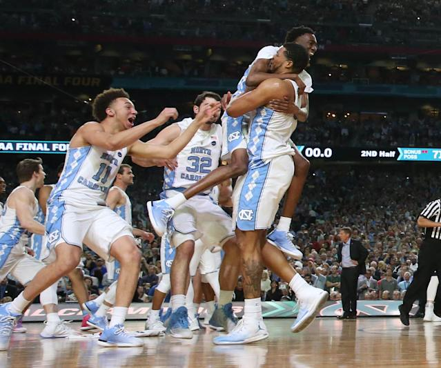 <p>North Carolina Tar Heels forward Kennedy Meeks (3) celebrates with teammates after defeating the Gonzaga Bulldogs 71-65 in the championship game of the 2017 NCAA Men's Final Four at University of Phoenix Stadium. Mandatory Credit: Bob Donnan-USA TODAY Sports </p>