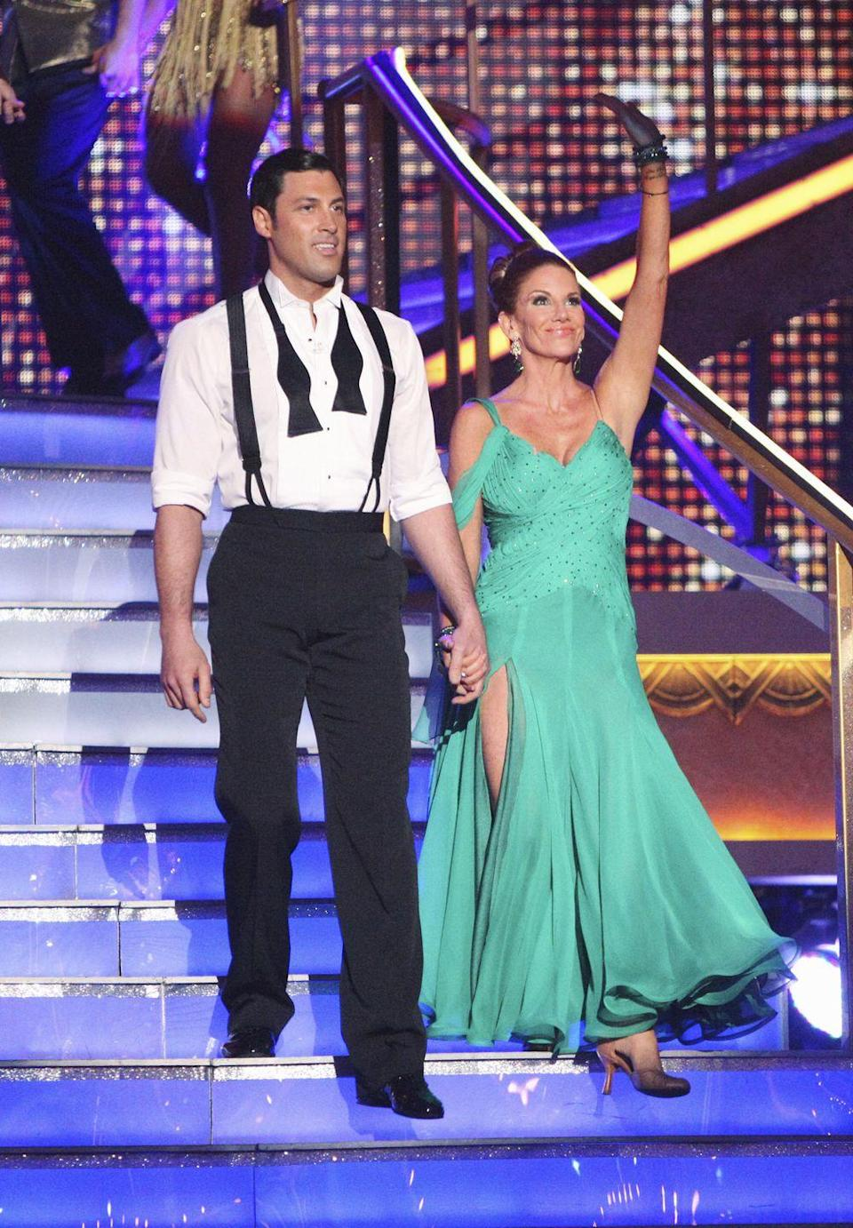 "<p>The former <em>Little House on the Prairie</em> actress headed to the hospital after a jolt to her head during her season 14 paso doble performance. She later tweeted that she had a ""mild concussion and whiplash"" from performing and hitting her head on the dance floor, <em><a href=""https://www.today.com/popculture/when-did-melissa-gilberts-head-hit-floor-dancing-stars-699215"" rel=""nofollow noopener"" target=""_blank"" data-ylk=""slk:Today"" class=""link rapid-noclick-resp"">Today </a></em>reported. She returned the following week to perform, but was sent home. </p>"