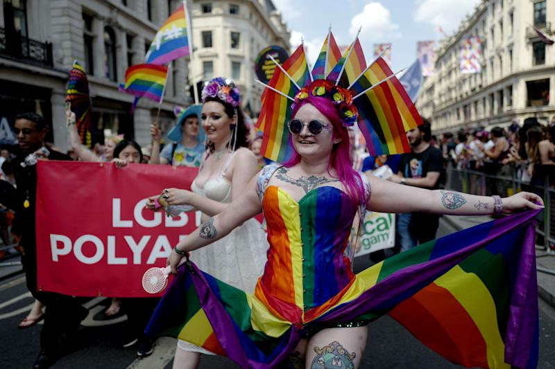 Members of the Lesbian, Gay, Bisexual and Transgender (LGBT) community take part in the annual Pride Parade in London on July 7, 2018. (Photo by Tolga AKMEN / AFP) (Photo credit should read TOLGA AKMEN/AFP/Getty Images)