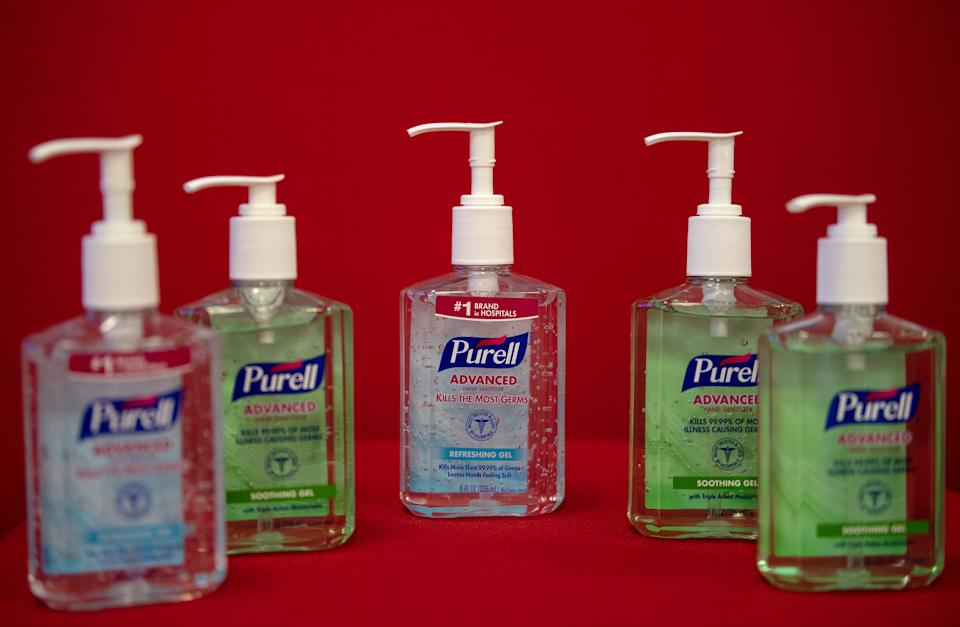 "This photo illustration shows bottles of Purell hand sanitizers on March 5, 2020 in Washington,DC. - Amazon pledged on March 5, 2020 to take steps to fight price gouging after a US senator complained of ""unjustifiably high prices"" on hand sanitizers and surgical masks to protect against coronavirus infections. The US retail giant responded to a letter from Senator Ed Markey, who wrote that Amazon appeared to be profiting from panic buying related to the epidemic. (Photo by NICHOLAS KAMM / AFP) (Photo by NICHOLAS KAMM/AFP via Getty Images)"