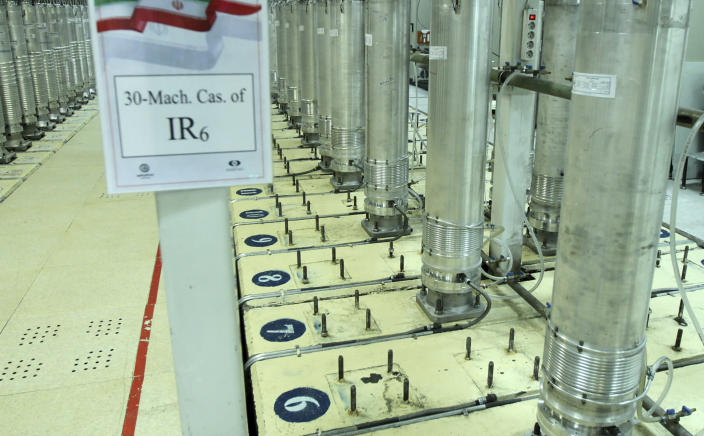 "FILE - This file photo released Nov. 5, 2019, by the Atomic Energy Organization of Iran, shows centrifuge machines in the Natanz uranium enrichment facility in central Iran. The facility lost power Sunday, April 11, 2021, just hours after starting up new advanced centrifuges capable of enriching uranium faster, the latest incident to strike the site amid negotiations over the tattered atomic accord with world powers. Iran on Sunday described the blackout an act of ""nuclear terrorism,"" raising regional tensions. (Atomic Energy Organization of Iran via AP, File)"