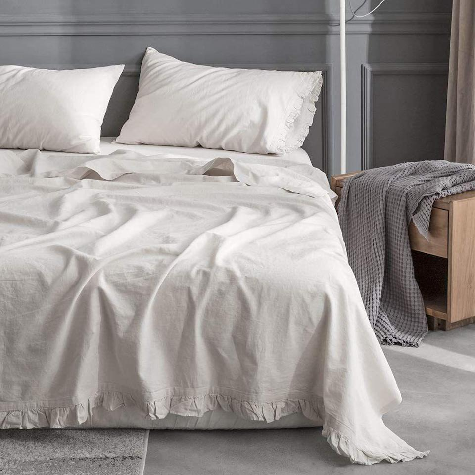"<p>You'll both feel heavenly snuggling up in these super breathable eco-friendly linen and cotton-blend sheets.</p><br><br><strong>King Linens</strong> 4-pc Eco-Friendly Linen/Cotton Blend Sheet Set, $79.99, available at <a href=""https://www.amazon.com/dp/B075D85F8Z/ref=sspa_dk_detail_0"" rel=""nofollow noopener"" target=""_blank"" data-ylk=""slk:Amazon"" class=""link rapid-noclick-resp"">Amazon</a>"