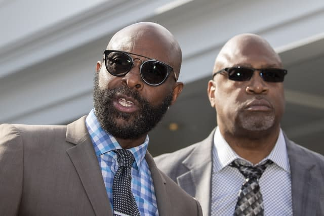 Former 49s stars Jerry Rice and Charles Haley (Alex Brandon/AP)