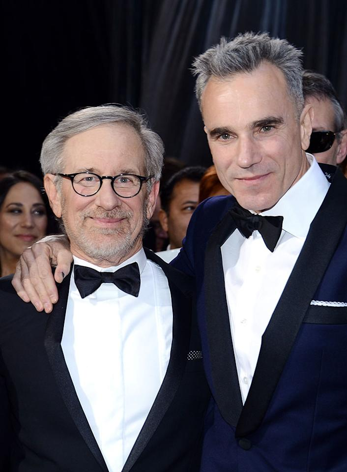Steven Spielberg and Daniel Day-Lewis arrive at the Oscars in Hollywood, California, on February 24, 2013.