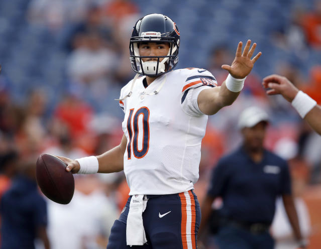FILE - In this Aug. 18, 2018, file photo, Chicago Bears quarterback Mitchell Trubisky warms up prior to the team's preseason NFL football game against the Denver Broncos in Denver. The Bears are banking on Trubisky to take at least a few big strides. They also expect him to hit a few more bumps along the way. (AP Photo/David Zalubowski, File)