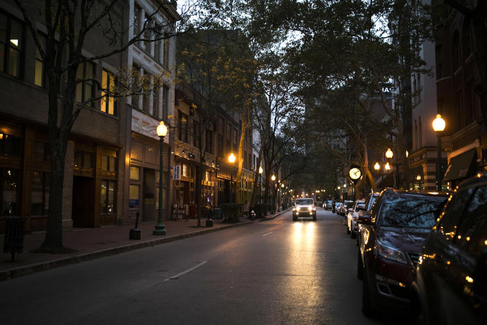 Capitol Street, which is part of the route for the annual Christmas Parade in Charleston, W.V., Nov. 5, 2019. (Maddie McGarvey/The New York Times)