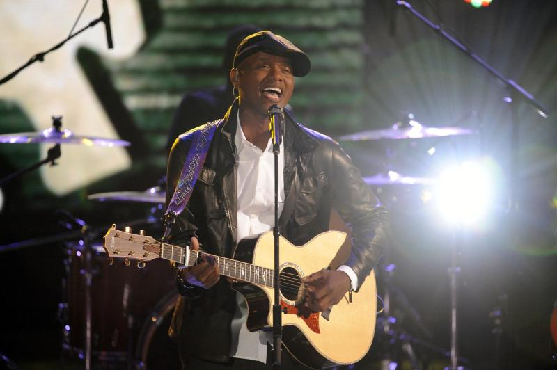 """In this June 28, 2011 photo, Javier Colon performs on """"The Voice"""" in Los Angeles.  Javier Colon is the winner of NBC's new singing contest """"The Voice."""" (AP Photo/NBC, Lewis Jacobs)"""