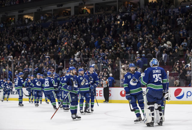 Vancouver Canucks goalie Thatcher Demko (35) and his teammates celebrate after defeating the St. Louis Blues 3-1 during an NHL hockey game in Vancouver, British Columbia, Monday, Jan. 27, 2020. (Darryl Dyck/The Canadian Press via AP)