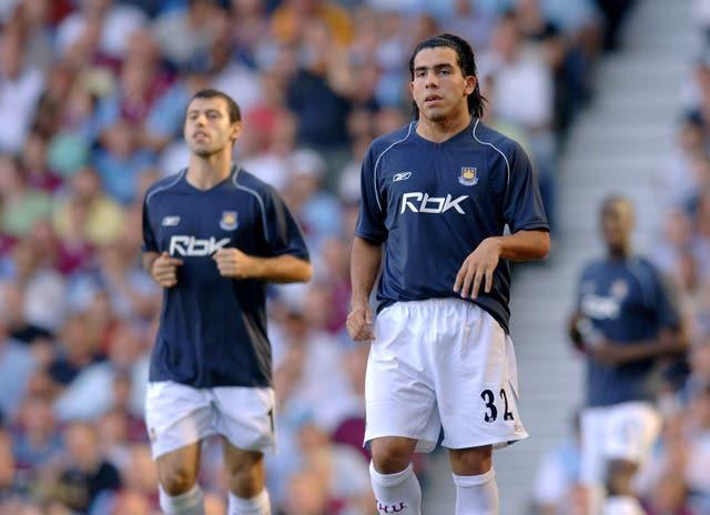 Javier Mascherano, left, and Carlos Tevez, right, began their Premier League careers with West Ham