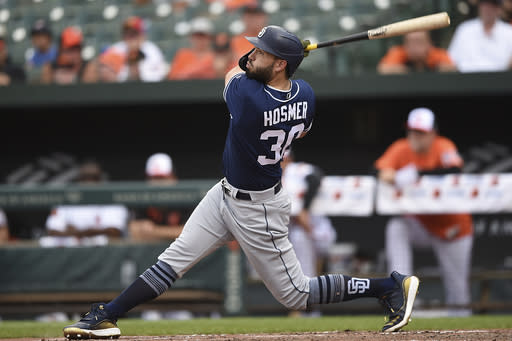 San Diego Padres' Eric Hosmer follows through on a two run home run against the Baltimore Orioles in the sixth inning of a baseball game Wednesday, June 26, 2019, in Baltimore. (AP Photo/Gail Burton)
