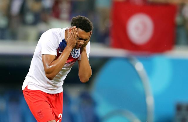 <p>England's Trent Alexander-Arnold rubs insect repellent on his face before the FIFA World Cup Group G match at The Volgograd Arena, Volgograd. (Photo by Owen Humphreys/PA Images via Getty Images) </p>