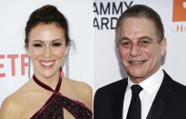 """In this combination photo, Alyssa Milano, left, arrives at the premiere of """"Insatiable"""" on Aug. 9, 2018, in Los Angeles and Tony Danza arrives at the Pre-Grammy Gala and Salute To Industry Icons on Jan. 27, 2018, in New York. A sequel to """"Who's the Boss?"""" is in the works at Sony Pictures Television, with Danza and Milano set to reprise their father-daughter roles from the 1980s-'90s sitcom. (AP Photo)"""