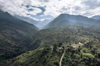 An aerial view of the Mutwanga hydroelectric plant at the foot of the Rwenzori Mountains (AFP/ALEXIS HUGUET)
