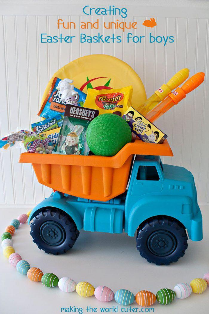 """<p>Instead of using a basket that will sit in storage until next year, try filling up a toy truck with treats that they'll actually want to play with all year long. </p><p><a href=""""http://makingtheworldcuter.com/2015/03/easter-baskets-for-boys/"""" rel=""""nofollow noopener"""" target=""""_blank"""" data-ylk=""""slk:Get the tutorial from Making The World Cuter »"""" class=""""link rapid-noclick-resp""""><em>Get the tutorial from Making The World Cuter »</em></a></p>"""