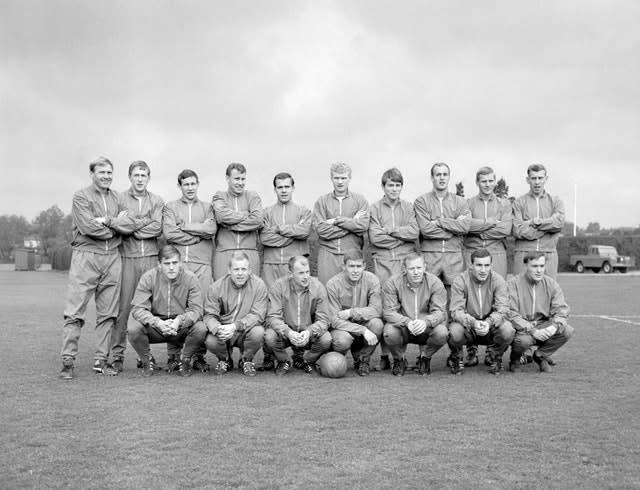 Jan Olsson (front row, far right) with the Sweden squad ahead of a friendly against England (PA)