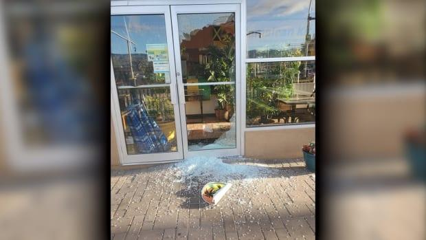 Jamaican Kitchen was broken into and vandalized on Monday, triggering the North Shore Business Improvement Association to refresh its call on the city and RCMP to review their community safety measures. (Jamaican Kitchen/Facebook - image credit)