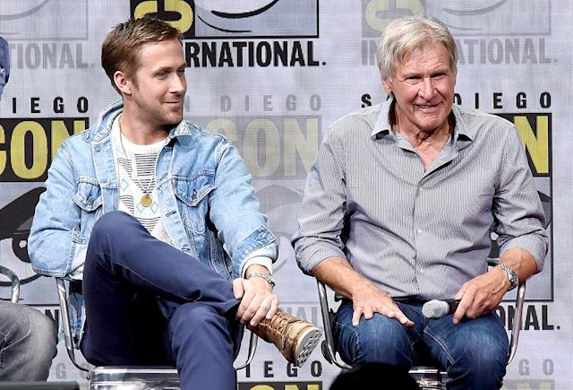 <p>Ryan Gosling and Harrison Ford at the Warner Bros. Pictures presentation at Comic-Con on July 22, 2017 in San Diego. (Photo: Kevin Winter/Getty Images) </p>