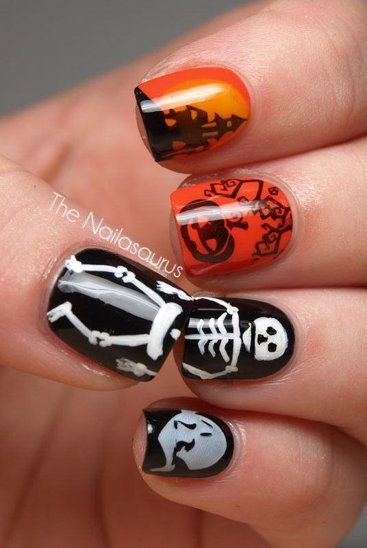 "<p>At first glance, this looks like random bursts of funky Halloween designs, but when you put your thumb and ring finger together, it totally comes alive. </p><p><em><a href=""http://www.thenailasaurus.com/2011/10/halloween-nail-art.html"" rel=""nofollow noopener"" target=""_blank"" data-ylk=""slk:Get the tutorial at The Nailasaurus »"" class=""link rapid-noclick-resp"">Get the tutorial at The Nailasaurus »</a></em></p>"