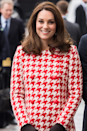 <p>The statement houndstooth moment was reimagined by Kate's for an appearance in Stockholm in January 2018, where she wore a red and white coat dress finished with a pair of contrasting gloves.</p>