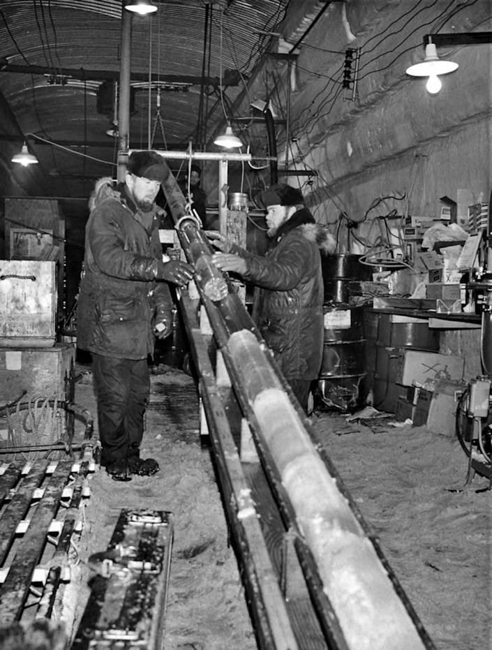 Two men with the ice core
