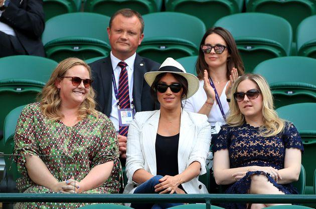 The Duchess of Sussex watching Serena Williams at the Wimbledon Championships last week.