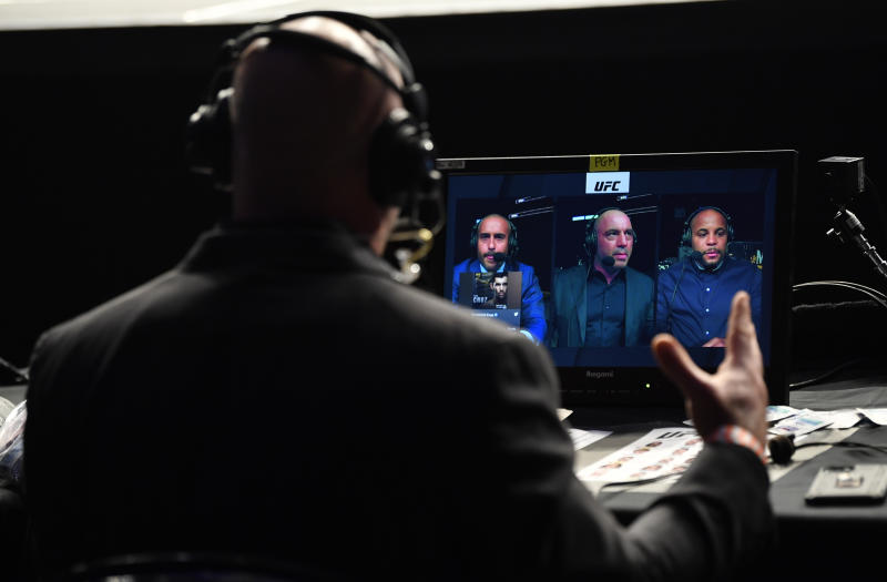 JACKSONVILLE, FLORIDA - MAY 09: A view of the broadcast team anchoring the television coverage during the UFC 249 event at VyStar Veterans Memorial Arena on May 09, 2020 in Jacksonville, Florida. (Photo by Jeff Bottari/Zuffa LLC)