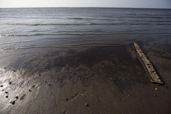 A year after the Deepwater Horizon spill,  public beaches along the Louisiana coast remained closed.