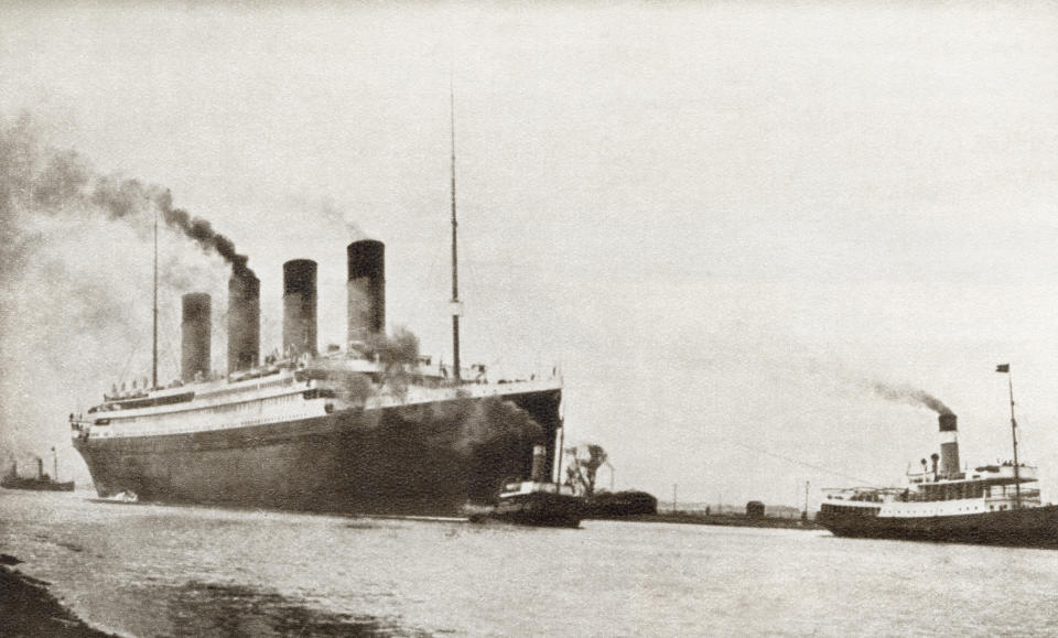 RMS Titanic passenger liner of the White Star Line. From The Story of 25 Eventful Years in Pictures, published 1935. (Photo by: Universal History Archive/UIG via Getty Images)