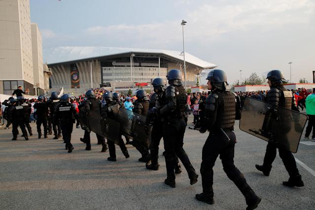 Soccer Football - Europa League Final - Olympique de Marseille vs Atletico Madrid - Lyon, France - May 16, 2018 Riot police outside the stadium before the match REUTERS/Denis Balibouse