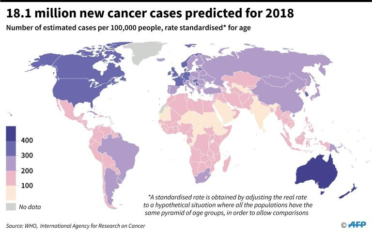 Estimates per country for the number of new cancer cases in 2018 per 100,000 people, according to the World Health Organisation