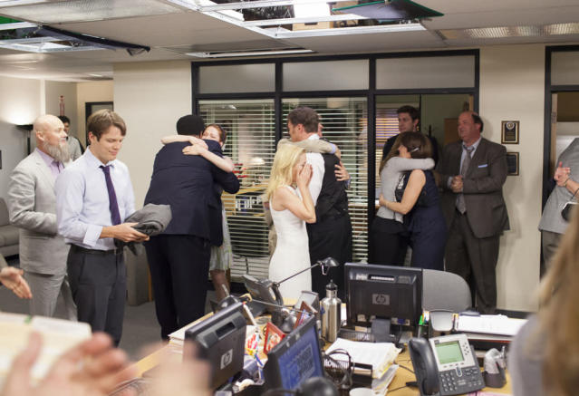 """Finale"" Episode 924/925 -- Pictured: (l-r) Ellie Kemper as Erin Hannon, Angela Kinsey as Angela Martin, John Krasinski as Jim Halpert, Brian Baumgartner as Kevin Malone"