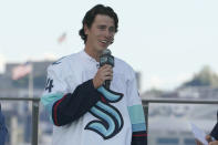 Hadyn Fluery, a defenseman from the Anaheim Ducks, speaks after being introduced as a new player with the Seattle Kraken NHL hockey team, Wednesday, July 21, 2021, during the Kraken's expansion draft event in Seattle. (AP Photo/Ted S. Warren)