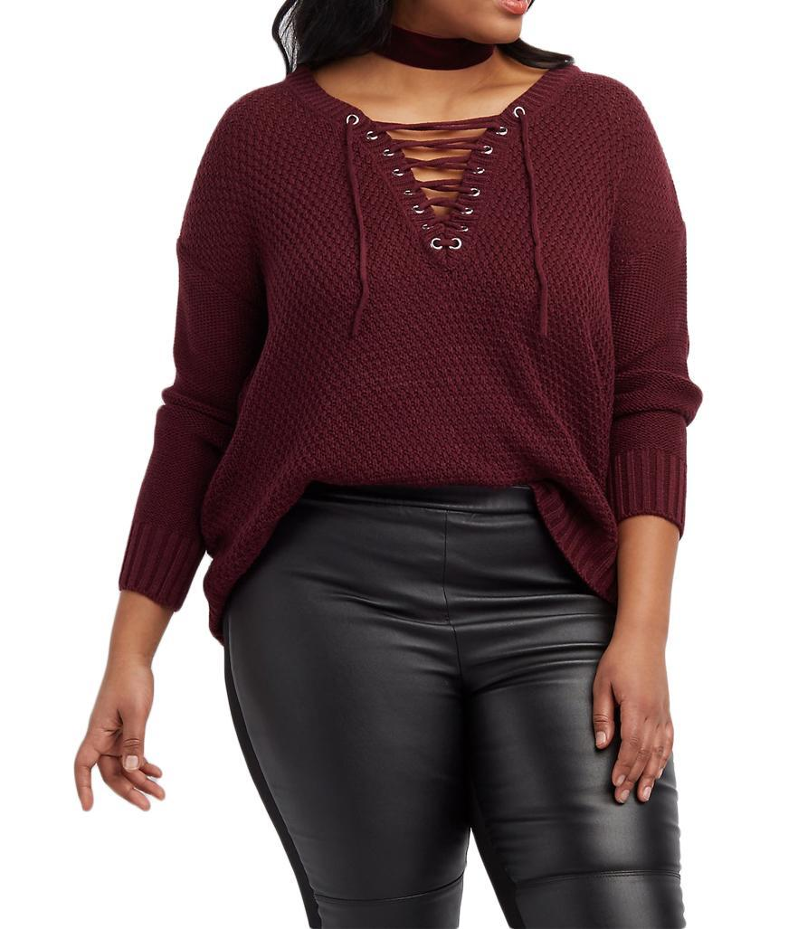"""<p>$9.99,<a rel=""""nofollow noopener"""" href=""""http://www.charlotterusse.com/plus-size-lace-up-pullover-sweater/302280746.html?dwvar_302280746_color=1061&cgid=plus-size-sweaters-cardigans#start=2"""" target=""""_blank"""" data-ylk=""""slk:Charlotte Russe"""" class=""""link rapid-noclick-resp"""">Charlotte Russe</a> </p>"""