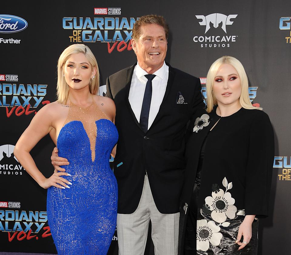 HOLLYWOOD, CA - APRIL 19:  (L-R) Taylor Ann Hasselhoff, David Hasselhoff and Hayley Hasselhoff attend the premiere of