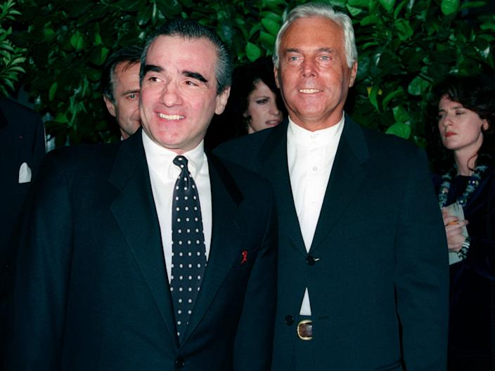 "Scorsese poses with Armani before a fashion show and dinner in New York in 1993. <p class=""copyright"">Reuters</p>"