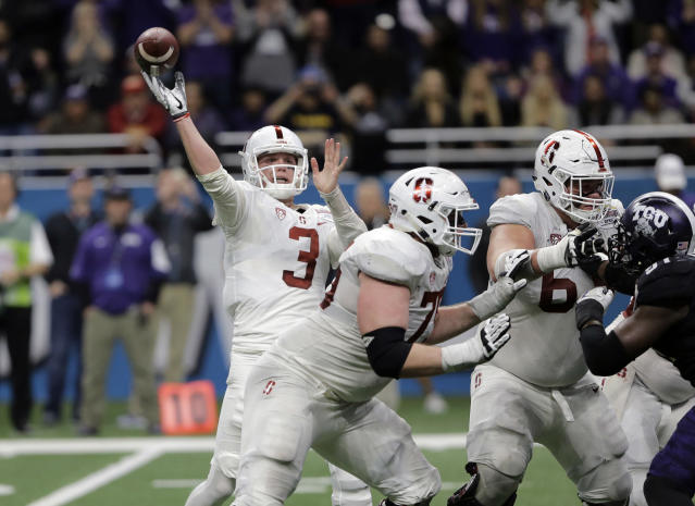 K.J. Costello (3) finally became Stanford's starting quarterback late in the 2017 season. (AP Photo/Austin Gay)