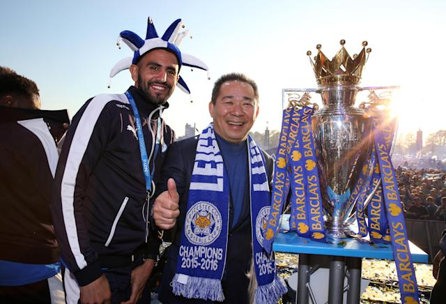 Riyad Mahrez and Vichai Srivaddhanaprabha after Leicester's title win in 2016