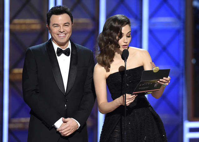 Seth MacFarlane and Emmy Rossum (Photo: Phil McCarten/Invision for the Television Academy/AP Images)
