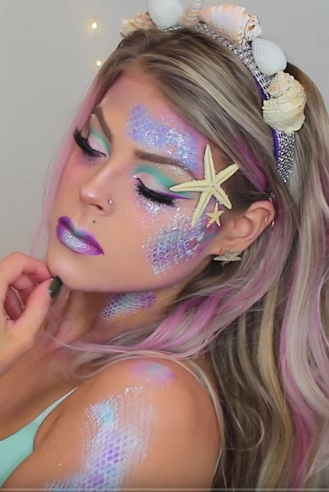 """<p>Halloween is a time to turn your dreams into a reality. You know what that means: You can finally become the mermaid thanks to makeup scales and a bag of seashells. </p><p> <em><a rel=""""nofollow"""" href=""""https://www.youtube.com/watch?v=RBoLP58SYNI"""">Get the tutorial on YouTube »</a></em></p><p><strong>What you'll need: </strong>fishnet ($13, <a rel=""""nofollow"""" href=""""https://www.amazon.com/Womens-Fishnet-Stockings-Tights-100-180lbs/dp/B071RF8W24/ref=sr_1_20?i"""">amazon.com</a>), seashells ($9, <a rel=""""nofollow"""" href=""""https://www.amazon.com/Sea-Shells-Mixed-Beach-Seashells/dp/B00XM1HOBC/ref=sr_1_4?"""">amazon.com</a>), eyeshadow palette ($68, <a rel=""""nofollow"""" href=""""https://go.redirectingat.com?id=74968X1525078&xs=1&url=https%3A%2F%2Fgo.redirectingat.com%3Fid%3D74968X1525078%26xs%3D1%26url%3Dhttps%253A%252F%252Fwww.sephora.com%252Fproduct%252Fsephora-pro-editorial-palette-P422048%253Ficid2%253D%253Ap422048%253Aproduct"""">sephora.com</a>)</p>"""