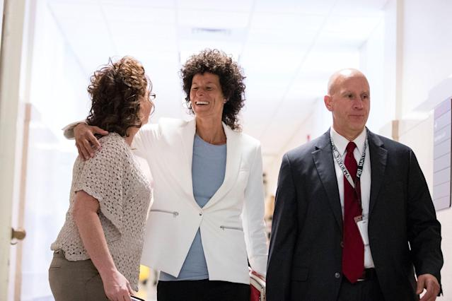 <p>Andrea Constand arrives at the Montgomery County Courthouse as the jury deliberates in Bill Cosby's sexual assault trial in Norristown, Pa., June 13, 2017. (Photo: Matt Rourke/Pool/Reuters) </p>
