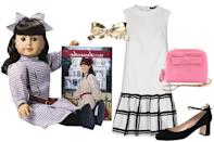 """<div class=""""caption-credit""""> Photo by: Courtesy of American Girl</div><b>Samantha Parkington</b> (1904) - Samantha was sort of like the girl we all aspired to be - prim and put together, long, wavy locks, and a checkered bow and dress set. Her velvet belt, delicate coin purse, and brooch were small trinkets that suggested traditional, high-class status, though Samantha was very supportive of progress at the turn of the century. We're going with the drop-waist style she's set, and lusting over a couple of golden accessories like that pink purse and vintage ribbon pin."""