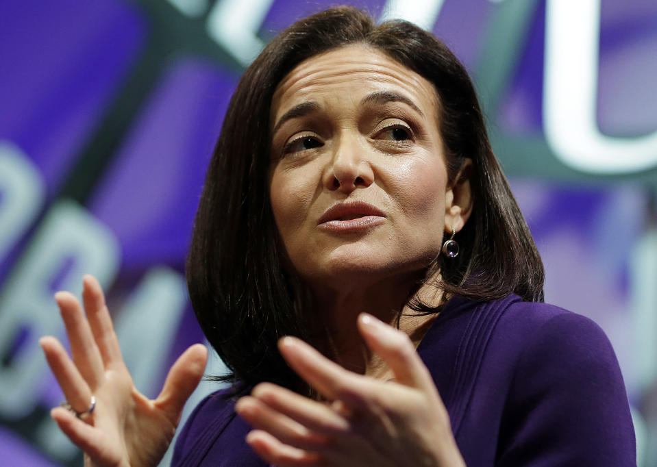 In this Nov. 3, 2015, file photo, Facebook Chief Operating Officer Sheryl Sandberg speaks during a forum in San Francisco. AP Photo/Eric Risberg, File