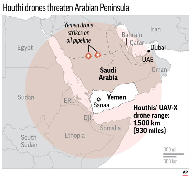 Map shows the rang of Yemen rebel's new UAV-X drone range and recent oil pipeline attacks in Saudi Arabia;