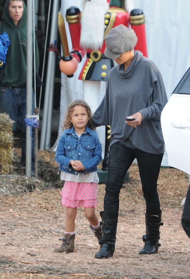 Halle Berry and Nahla shopping in Beverly Hills, where the 'Cloud Atlas' star is seen doing some food shopping with her daughter and going to buy a Christmas tree. 