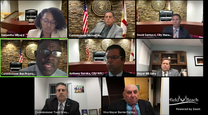 A screenshot of Tuesday night's Deerfield Beach Commission meeting, where commissioners unanimously approved making Juneteenth a citywide holiday.