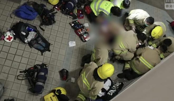 The student fell from the third floor to the second floor of the car park. Photo: RTHK