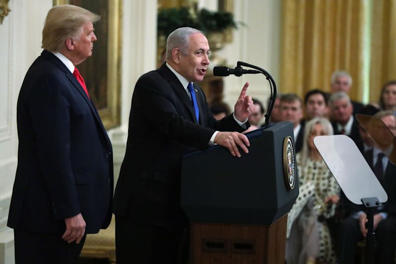 Israeli Prime Minister Benjamin Netanyahu speaks during a press conference with U.S. President Donald Trump in the East Room of the White House on January 28, 2020 in Washington, DC. | Alex Wong/Getty Images