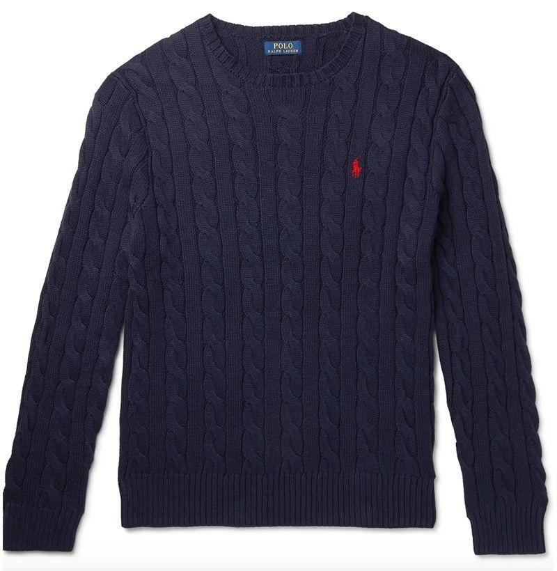 """<p><strong>POLO RALPH LAUREN</strong></p><p>mrporter.com</p><p><strong>$110.00</strong></p><p><a href=""""https://go.redirectingat.com?id=74968X1596630&url=https%3A%2F%2Fwww.mrporter.com%2Fen-cl%2Fmens%2Fproduct%2Fpolo-ralph-lauren%2Fclothing%2Fcrew-necks%2Fcable-knit-cotton-sweater%2F210639135760&sref=https%3A%2F%2Fwww.esquire.com%2Fstyle%2Fmens-fashion%2Fg14012516%2Fcable-knit-sweaters-men%2F"""" rel=""""nofollow noopener"""" target=""""_blank"""" data-ylk=""""slk:Buy"""" class=""""link rapid-noclick-resp"""">Buy</a></p>"""