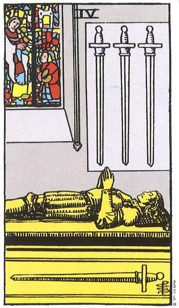 Four of Swords card. Photo: Wikimedia Commons
